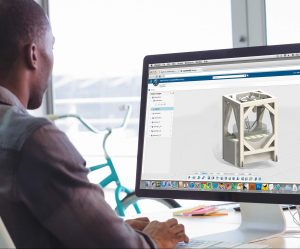 TechBrew engineer working on Solidworks model for medical device automation