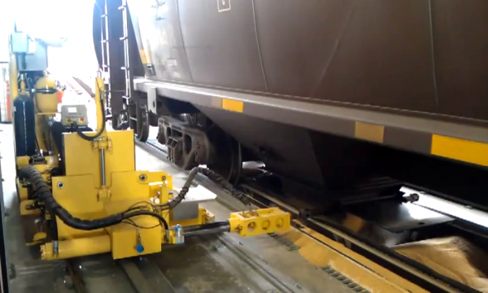 Automated rail car opening system