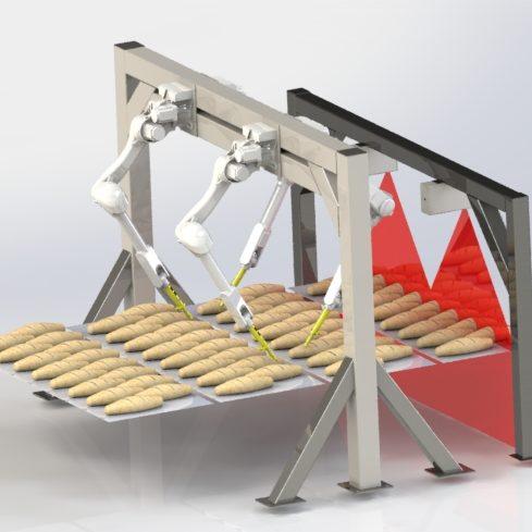 Four robot arms scoring bread on a conveyor